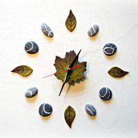 Green wall clock Botanical clock Nature decor Clock stones and leaves Ecology wall Clock