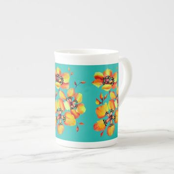 Elegant Orange Flowers - Aqua Tea Cup