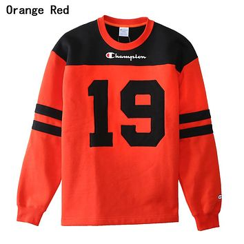 Champion Fashionable Women Men Casual Print Round Collar Sport Sweater Sweatshirt Orange Red