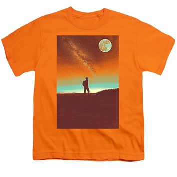 The Milky Way, The Blood Moon And The Explorer Poster By Adam Asar 4 - Youth T-Shirt