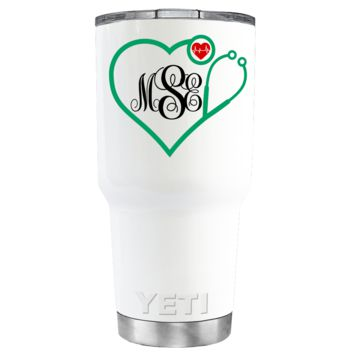YETI 30 oz Heart Shaped Green Stethoscope Monogram on White Tumbler