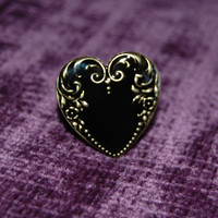 Jet Enamel Heart Ring