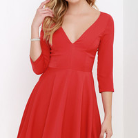 Clued In Red Skater Dress