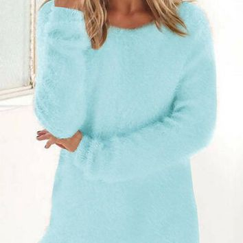 Sky Blue Plain Fur Round Neck Fashion Pullover Sweater