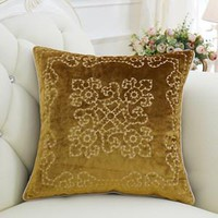"""Yellow Embroidered Floral Pillow 20""""X20"""""""