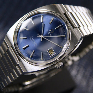 1970's Vintage Automatic Omega Seamaster Sports Watch with Date, Blue Dial