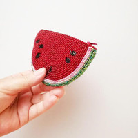 Vintage watermelon purse, embroidered, beaded, watermelon shaped purse in red black white and green, collectible coin purse, late seventies
