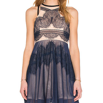 Whimsical Dress in Midnight Blue & Nude