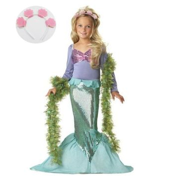 2pcs Baby Girl Little Mermaid Dress + Headband Children's Costumes Girl Kids Halloween Carnival Birthday Party Clothing Outfit