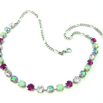 KAWAII- 6mm or 8mm Swarovski crystal necklace, delicate opals, fuchsia and paradise shine, Siggy bling