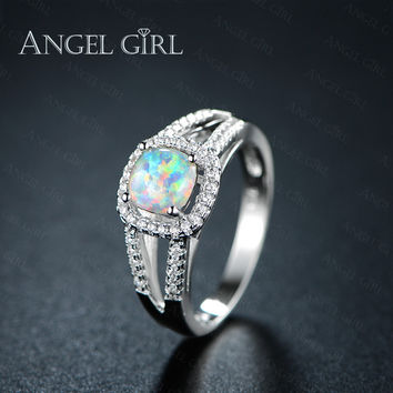 Angel Girl double Queen Rings White Gold Color  wedding engagement ring for women gift Fire Opal jewelry bijoux bague femme