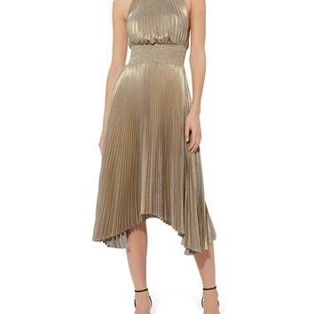 Renzo Metallic Pleated Dress