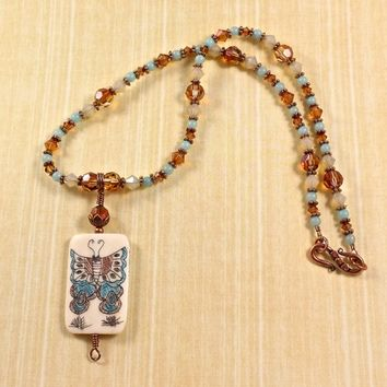 Copper Swarovski Crystal Blue Amazonite Scrimshaw Butterfly Necklace