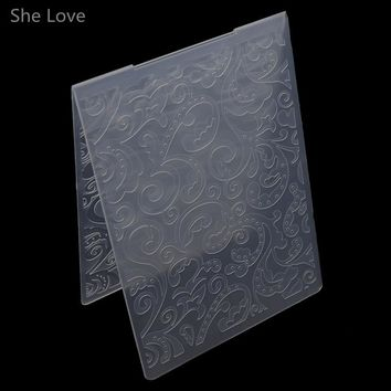 She Love Scrapbooking Embossing Folder Scroll Flowers Plastic Template DIY Papercraft Card Making Decoration