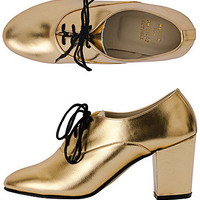 Metallic High HeelBobby Leather Lace-Up Shoe