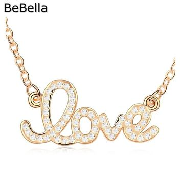 BeBella 18KGP LOVE necklace  made with Czech crystal for women gift