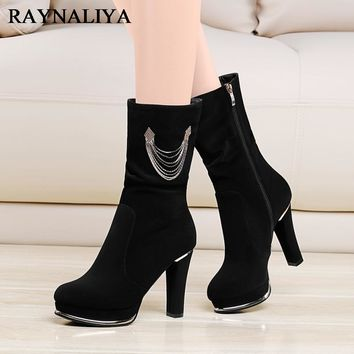 Cow Suede Beautiful Mid Calf Boots For Women Zip Martin Comfortable Casual Boots Round Toe High Heel Boot Shoes Black YG-A0047