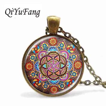 Steampunk necklace mandala chakra pendant OM jewelry women glass cabochon pendants Zen gift jewellery vintage flower of life man