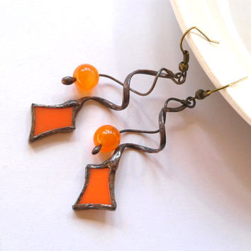 Stained glass dangle earrings orange beaded statement jewelry Sparkle