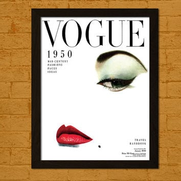 Vintage Vogue Cover 1950 - Fashion Illustration Vogue Poster Fashion Print Vogue Print Fashion Wall Art Fashion Print BUY 2 GET 1 FREE