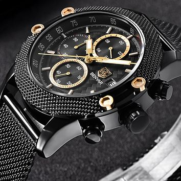 Sport Chronograph Fashion Watches Men Mesh & Rubber Band Waterproof Luxury Brand Quartz Watch Gold