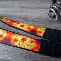 Floral Camera Strap. Gift For Her.  Yellow Red Strap. Flowers Camera Strap. Photo  Accessories