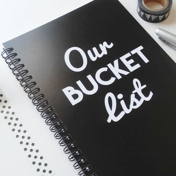 Writing journal, spiral notebook, sketchbook, bullet journal, black white, blank lined or grid paper, to do, romantic gift - Our bucket list