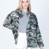 Floral Patched Camo Jacket