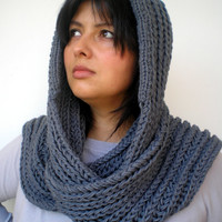 Stone Grey  River  hooded Scarf Hand Knitted  mixed Wool Hood Woman Hooded Scarf Fall Winter NEW