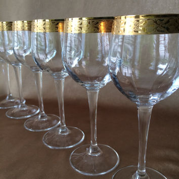Gold Rim Wine Glass, Optic Panel Glass, Long Elegant Stems, Italian Barware, Marcello Aglieri, Vintage Chic, Wide Gold Bands, Set of 6