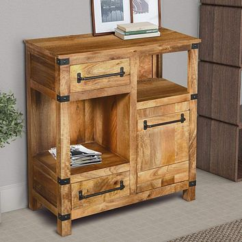 Wooden Cabinet with 2 Spacious Drawers and 2 Open Shelves, Brown and Black