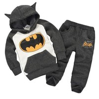 kids batman set baby boys clothing set children hoodies pants thicken winter warm clothes boys girls sets 2017 autumn costume