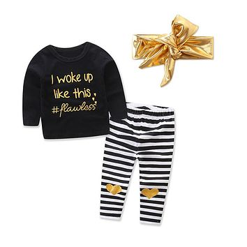 Infant Baby Girl Letter T shirt Tops+Heart Striped Pants Outfits Clothes Set