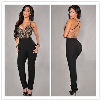 Limited Time Discount Hot Sale Women Summer Sexy Lace Top Cross Straps Backless Party Jumpsuit = 1931790660