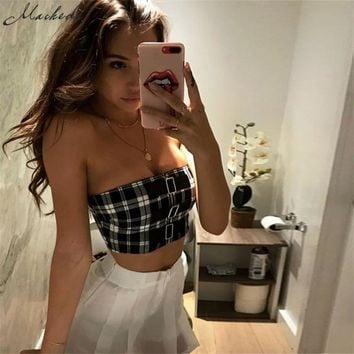 Classic Tank Tops Short Plaid Sexy Sleeveless Strapless Casual Brandy Melville Buckles Women
