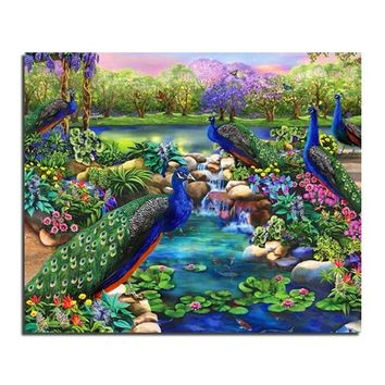 DIY 3D Diamond Painting Set for Embroidery Rhinestones Cross Stitch Resin Craft Gifts Home Decoration Green Peacock Animals Pict