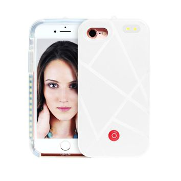 iPhone 7 Plus Case,AutumnFall Luxury LED Light Up Selfie Luminous Phone Back Case Cover for iPhone 7 Plus 5.5 inch (White)
