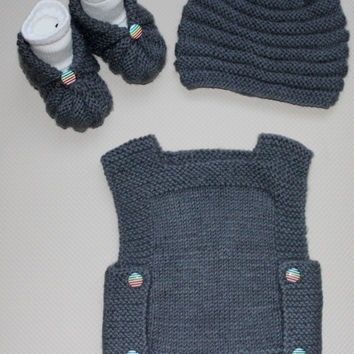 Hand Knit Grey Baby Boy's Set / Baby Sweater / Baby Hat / Baby Shoes / Gift for Baby Boy's Set / Gift for Baby Shower / Ready to S hipping