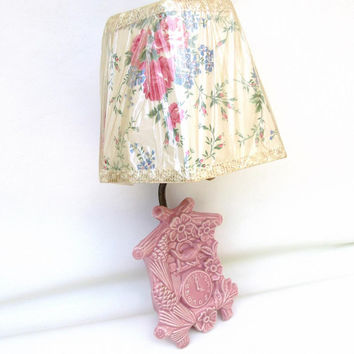 Vintage Sconce Lamp / Wall Light Fixture / Nursery Lighting / Pink Ceramic Coo Coo Clock – Wall Pocket