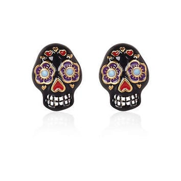 Black floral skull stud earrings