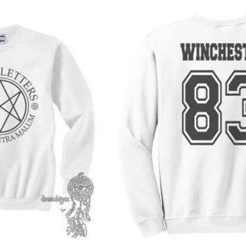 Winchester 83 Sam Winchester Men Of Letters Stamus Contra Malum Supernatural printed on White Crewneck Sweatshirt