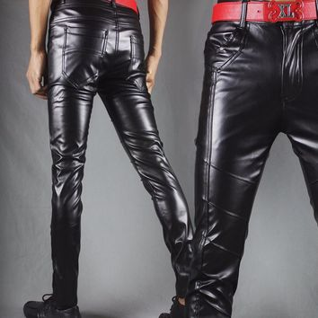 Winter new leather pants men Slim flesh tight pants motorcycle night club hair stylist feet leather pants tide