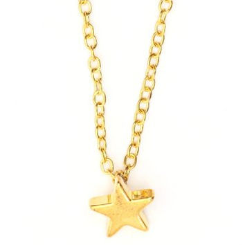 Petite Star Necklace Little Charm Gold Tone NE25 Simple Dainty Statement Pendant Fashion Jewelry
