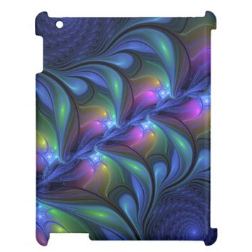 Colorful Luminous Abstract Blue Pink Green Fractal iPad Case