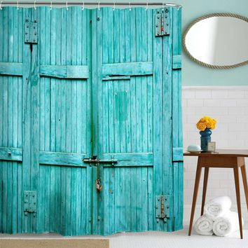 Goodbath Barn Door Shower Curtain, Waterproof and Mildew Resistant Polyester Fabric Bathroom Curtains, 72 x 72 Inch, Turquoise (Turquoise)
