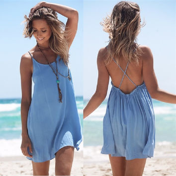 Sleeveless Spaghetti Strap Backless Short Dress