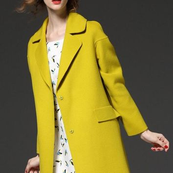 Yellow Wool Coat W/ Belt
