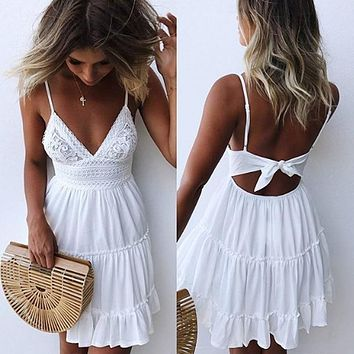 Fashion Strap Backless Women Summer Dress Pleated Bright yellow V Neck female Streetwear casual white lace dress Beach Vestidos