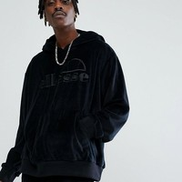 Ellesse Oversized Velour Hoodie With Embroidered Logo In Black at asos.com