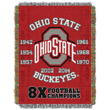 Ohio State Buckeyes NCAA Woven Tapestry Throw (Home Field Advantage) (48x60)
